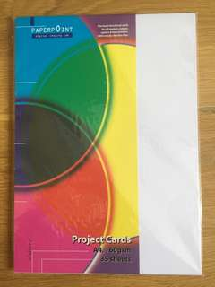 A4 White Project Cards 160gsm