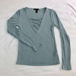 Forever 21 Ribbed Crisscross Front Long Sleeve Top
