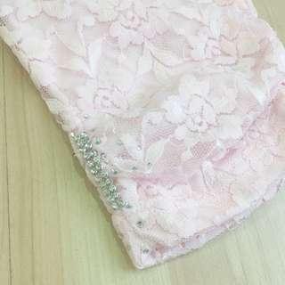 [3 for RM50] Soft Pink Lace Floral Knee Length Legging