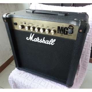Used working Marshall  MG15R amplifier for electric guitar.