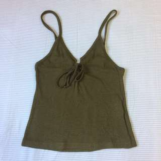 Topshop Ribbed Cropped Lace Up Tank Top