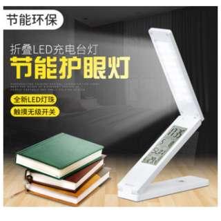 折疊 LED 護眼 台燈 檯燈 桌燈 小夜燈 觸控開關 具萬年曆 溫度 鬧鐘