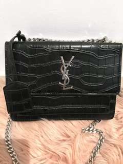 YSL Black Croc Leather Shoulder Bag