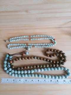 緬甸a玉珠串: 一條8mm 32吋108粒, 兩條14mm 24吋, 一手價三條 750元  單條價錢300元