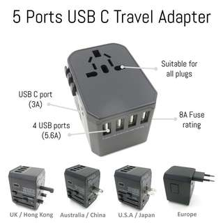 🚚 ⭐️ 5 ports USB C 5.6A multi USB port travel adapter travel charger