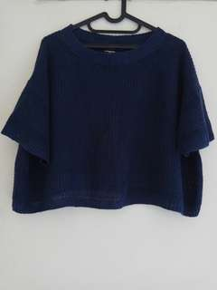 Knitted Crop Top Navy