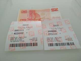 Singapore 2 dollars and sweep tickets