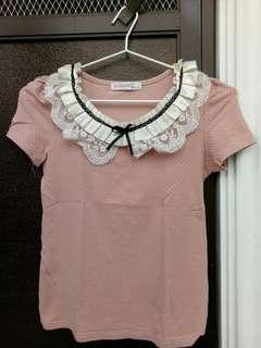 Pink Ruffle Colar top