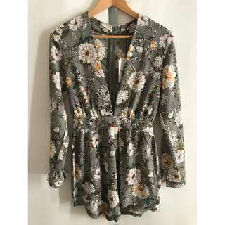 Long-Sleeved Floral Playsuit