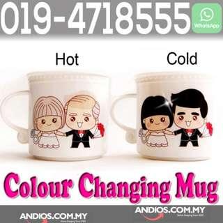 In-Stock✔Couple Love Mug-Magic Color Changing Ceramic Cup.Cawan Magik Rumah