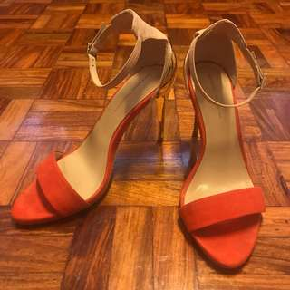 Zara red & nude high heeled sandals