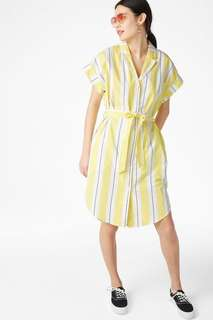 Monki White/Yellow/Grey Short-Sleeved Shirt Dress