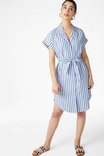 Monki White/Blue Short-Sleeved Shirt Dress