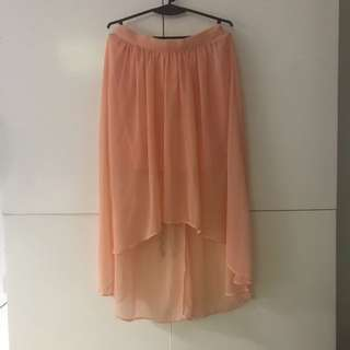 Polka dotted Peach Forever 21 High-Low Maxi Skirt