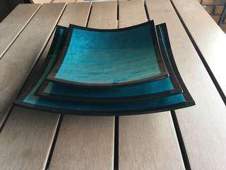 Decorative trays in set of 3 (turquoise blue and black)