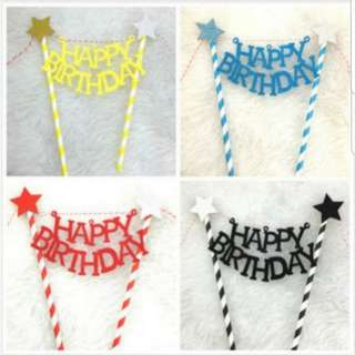 (3 for $9)Happy Birthday Cake Topper