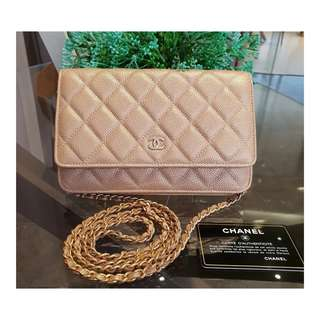 Authentic Chanel WOC Gold Caviar Ghw