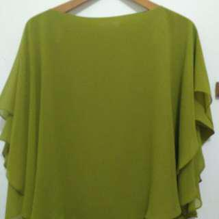 Green Blouse Batwings
