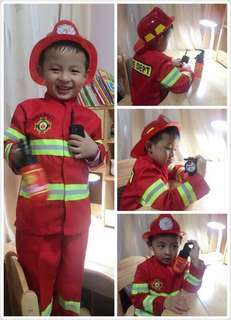 Ready Stock Fireman Firefighter Costume, Helmet, Walkie Talkie, Fire Extinguish, Compass Toys