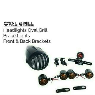Motorbike/Caferacer Headlights/ Lamp Oval Grill Bundle