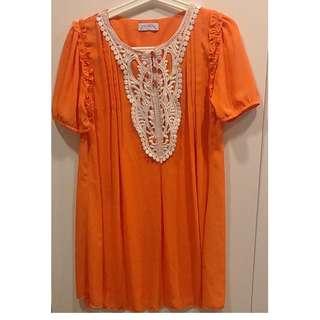 🚚 ***全新超美橘色刺繡洋裝/長版上衣***