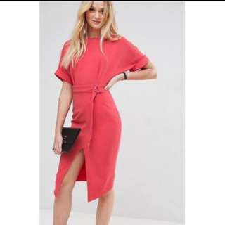 V-Back Dress Office Casual Wear With Slit
