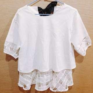 🚚 韓製🔥超可愛袖接紗後綁結上衣