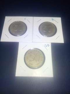Syiling 50¢ terbelah, 1 set, tahun 67 68 69