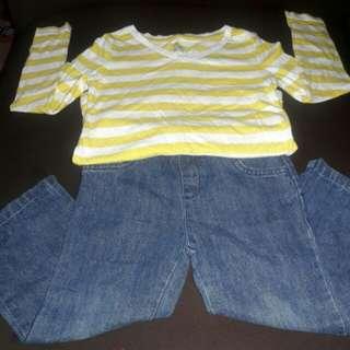 Pre❤ Yellow & White Top w/ Maong Pants