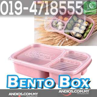 In-Stock✔3 Grid Wheat Straw Microwavable Meal Storage Food Prep Bento Box Lunch Container