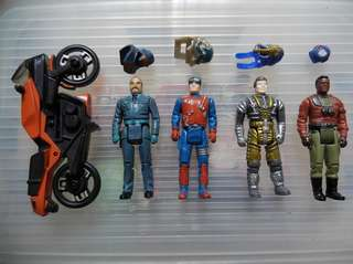 Vintage toy. M.A.S.K. action figures x4, and Motorcycle (from Firecracker) x1