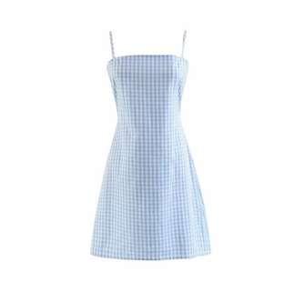 Baby blue checkered summer look dress