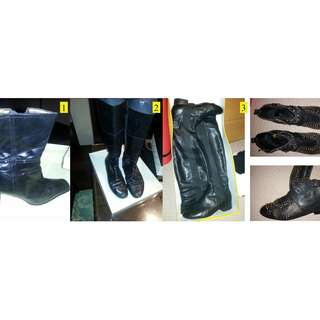 Collection of  black designer boots.