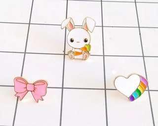 #264 cute rabbit bunny heart rainbow bow  tumblr enamel pin | po