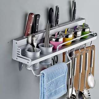 Kitchen Good Helper Utensils Aluminum Storage Rack Organizer with Hooks Cups Multi Function Space Save Holder Tools