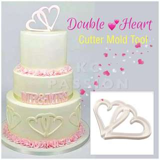 💕 DOUBLE HEART CUTTER MOLD TOOL  Cake Decorating Tool for Cookies • Fondant Cake & Cupcake • Bread Dough • Pastry • Sugar Craft • Jelly • Gum Paste • Polymer Clay Art Craft •
