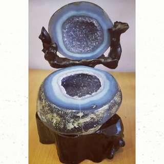 天然金皮紫水晶玛瑙聚宝盆 New!