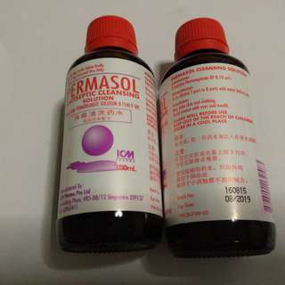 Permasol Antiseptic Cleansing Solution 100ml (Potassium Permanganate Solution). 2 bottles available.