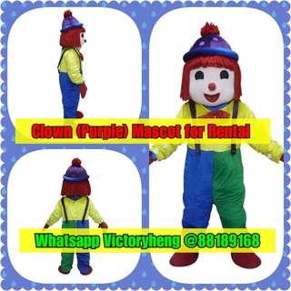 Clown (Purple) Mascot for rental