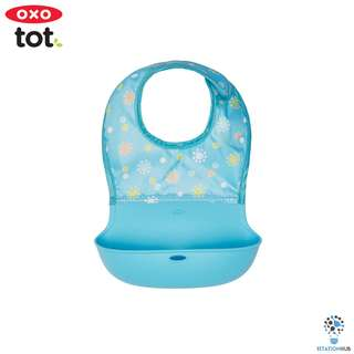 Oxo Tot Roll Up Bib | Aqua with Pattern [BG-61112000]