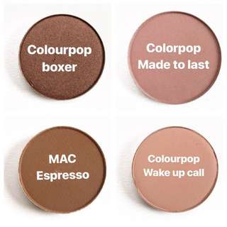 Colourpop and Mac single eyeshadows