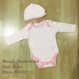 [3 for RM50] Mothercare Baby Romper + Hat