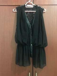 Avenue Black Brocat Vest