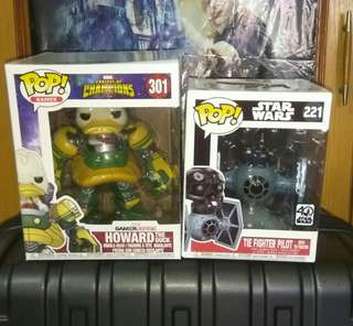 [PRE-ORDER] Howard the Duck Marvel Contest of Champions & Tie Fighter Pilot in Tie Fighter Deluxe Star Wars Funko Pop Bundle