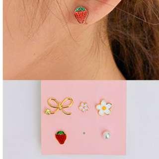 正韓製小優雅可愛童趣設計耳環組 earing set ( CHUU 官網代購 ) 五入 飾品 韓國 耳針