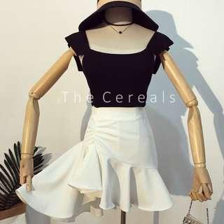 TC2514 Korea 2 Pieces Knitted Top + Irregular High Waist Skirt (Black Top+White Skirt,White Top+Black Skirt)