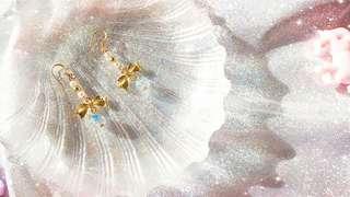 手工夏季爆裂珠蝴蝶耳環