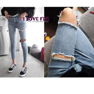 好萊塢歐美韓國英倫MOUSSY感超正點細腿窄管Skinny彈性丹寧牛仔淺藍破褲