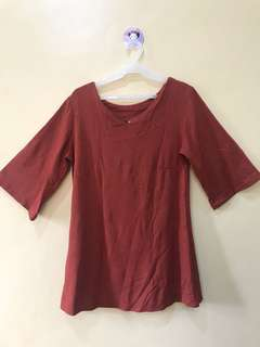 Rust Colored/ Bell Sleeves Dress