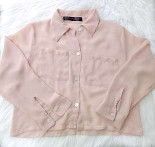 Sheer Buttondown cropped polo